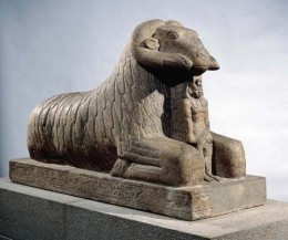 Amon in the form of a ram protecting Taharqa. Image credit: Britannica.com
