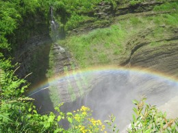 A rainbow in the mist of Middle Letchworth Falls