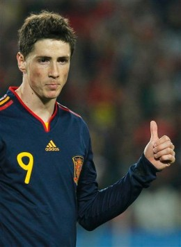Spain's Fernando Torres gestures during the World Cup quarterfinal soccer match between Paraguay and Spain at Ellis Park Stadium in Johannesburg, South Africa, Saturday, July 3, 2010. (AP Photo/Eugene Hoshiko)