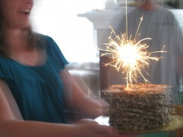 Alex always gets a sparkler on his birthday cake.