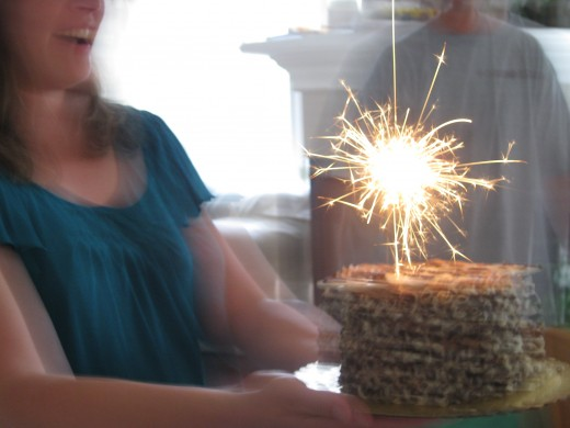 Alex always gets a sparkler on his birthday cake.