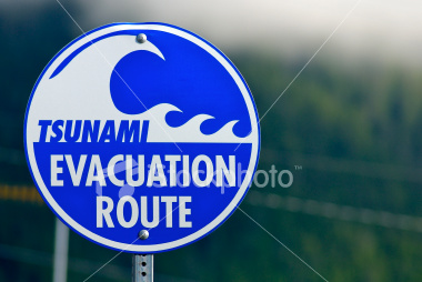 In some places around the Pacific rim ring of fire, there are signs like these, plus directions to the high ground.