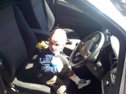 My son doing the driving.