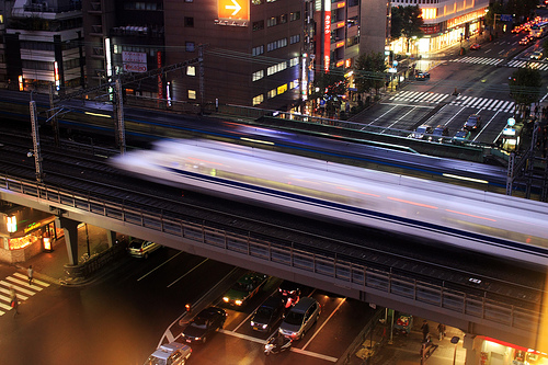 a speed train heading through a city in Japan at night. photo credit: http://www.flickr.com/photos/oimax/1966934332/