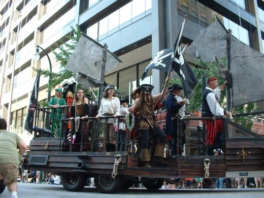 Pirate ship in the Dragon Con parade