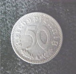 This is a German 50 reichspfennig coin dated 1941 A