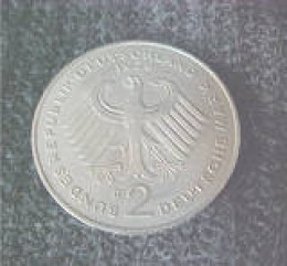 This is a German 2 mark coin dated 1969 D