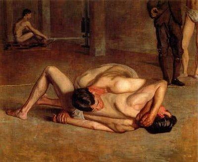 """The Wrestlers,"" by American artiste Thomas Eakins 1899"