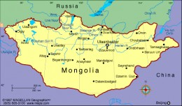 Geography Mongolia lies in central Asia between Siberia on the north and China on the south. It is slightly larger than Alaska