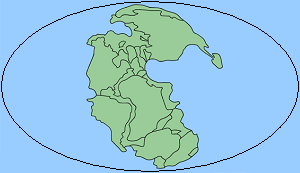 Super continent Pangaea (green) on the single world ocean Panthalassa (blue)