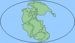 Super continent Pangaea (green) on the single world ocean Panthalassa (blue)