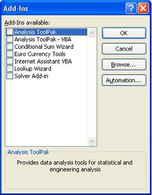 Installing the Analysis ToolPak Excel Add-In