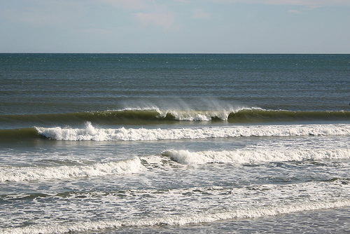 Example of a good surf beach break. You can clearly see the inside area and the outside.