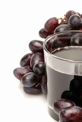 Red grapes and red grape juice contain resveratrol, but not a whole lot.
