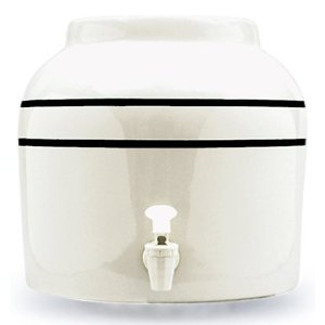 Ceramic Water Crock Dispenser - Double Black Line