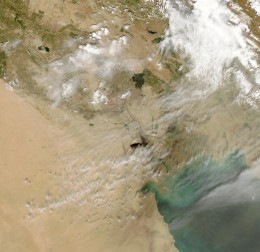 These are the Kuwait oil fires seen from space. This was by far, perhaps until now, the very worst oil disaster ever.