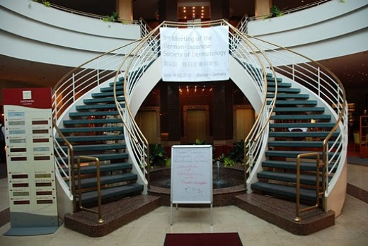 The staircase in the hotel's lobby