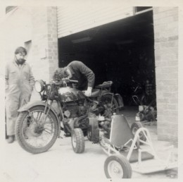 An early (1938) Royal Enfield original  in perfect working order despite it's ragged appearance. Brian my brother-in law with the beard and Peter our mechanic.