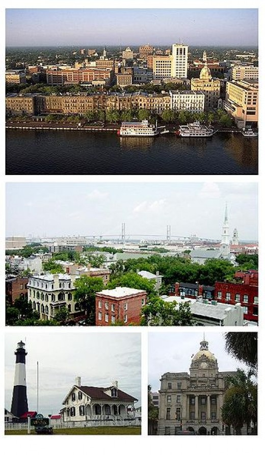 The different views of the picturesque historical area of Savannah, Georgia. Public domain (wikipedia.org)