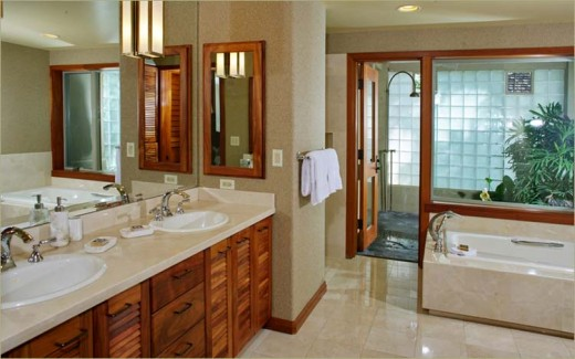 How awesome is the shower room behind the tub, set up like a little bit of paradise back there!