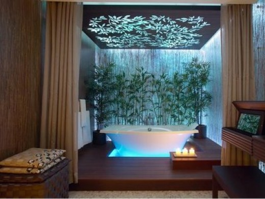 The perfect ambiance is captured in this design. Great spa-like feature, just screams RELAXATION!