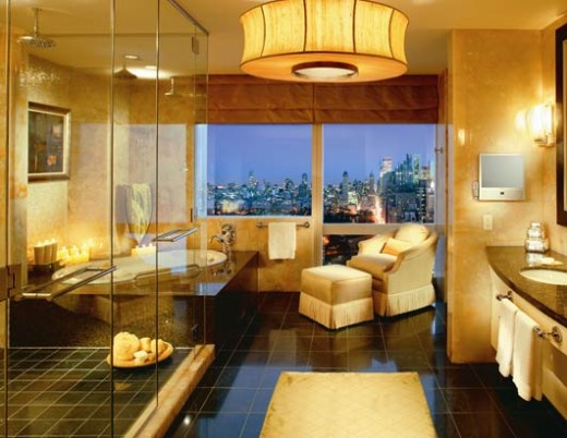 Awesome huge shower! Love the set up along with the color and lighting adding warmth here. Another spectacular view!