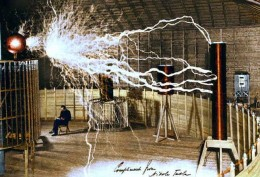 Tesla is seen here in his Colorado experiment days where he worked out his basic ideas of electrical resonance, the physics behind his wireless power transmission.