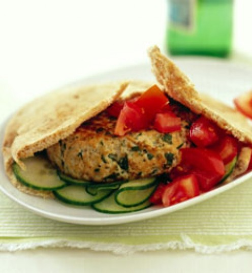 Lower the calorie and carb count using a slimmer bun or pita shell for your turkey burger