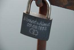 A love padlock on a bridge in Weimar, Germany