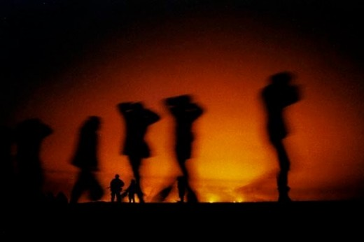 This scene from hell, is a picture at ground level of the 1991 Kuwait oil fires.