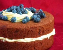 Chocolate Sponge Cake with Buttercream and Blueberries