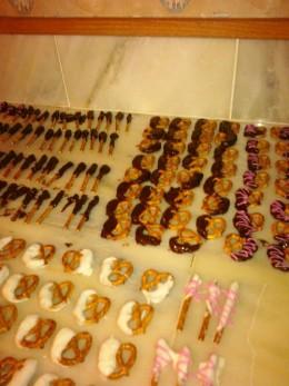 white and dark chocolate covered pretzels