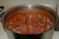 Sauce simmered for an hour, let set 10 minutes before serving!