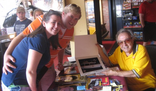 The highlight of the trip was getting to meet Mr. George Barris.  He was a super friendly guy.  This is Barris, my wife, and I posing after he signed my Ghostbuster picture.