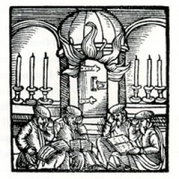 Tishah b'Av, Venice, 1593. A mental image of the Temple burns in the background as members of the congregation sit on the floor reading the book of Lamentations.