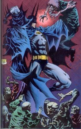Batman fights a vampire nest in Batman & Dracula: Red Rain. (pencils: Kelley Jones, inks: John Beatty)