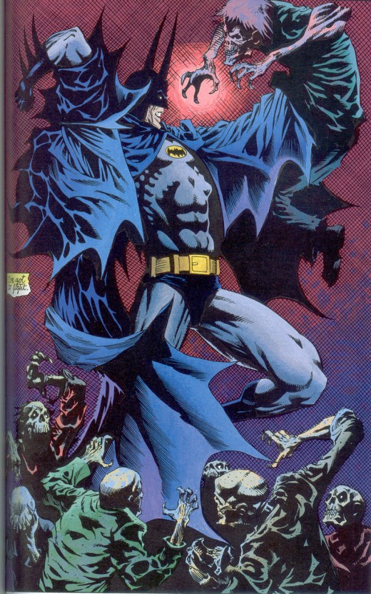 Batman fights a vampire nest in Batman & Dracula: Red Rain. (pencils: Kelley Jones, inks: John Beatty)