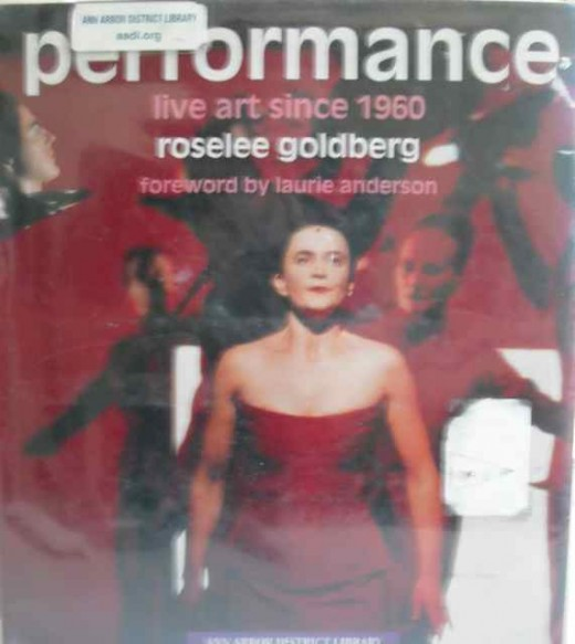 "Front cover of Roselee Goldberg's book ""Performance: Live Art since 1960""."