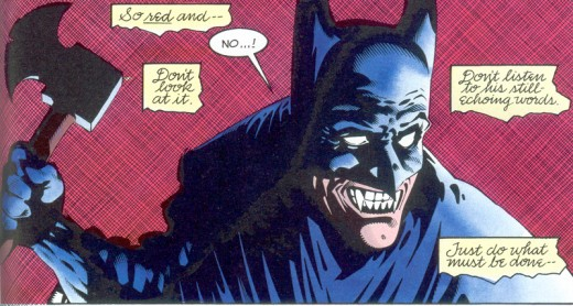Vampire Batman struggles with his bloodlust in Batman: Bloodstorm. (pencils: Kelley Jones, inks: Malcolm Jones III)