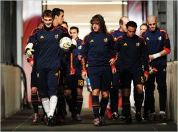 The Spain team prior to its match against the Netherlands.  Shaun Botterill - FIFA, via Getty Images