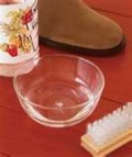White vinegar and a suede brush for lifting stubborn stains