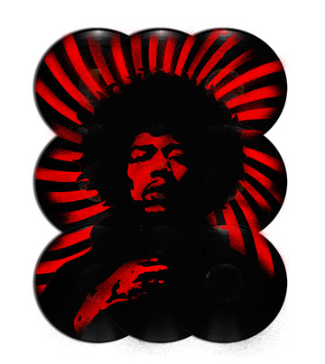 "Stencil of Jimi Hendrix on 12"" Vinyl"