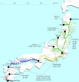 Shinkansen Map of Japan