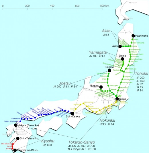 Shinkansen Map of Japan