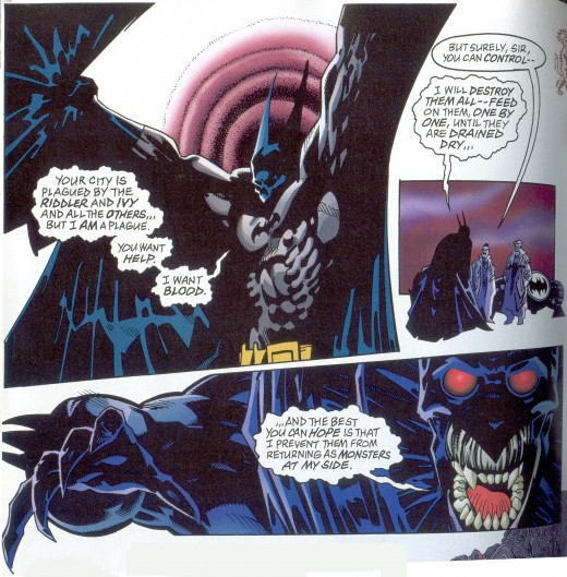 Vampire Batman tells how he will feed on the criminals who have taken over Gotham in Batman: Crimson Mist. (pencils: Kelley Jones, inks: Malcolm Jones III)