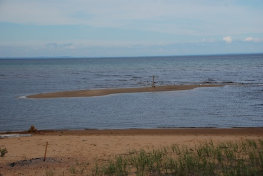 This small island in front of the cottage on Whitefish Bay, Lake Superior, disappeared for a while Sunday during a seiche.