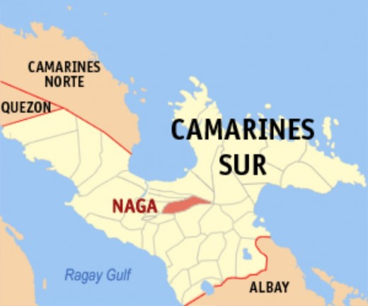 Locator Map of NAGA CITY in the province of Camarines Sur