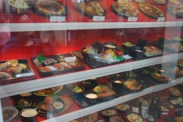 Many Japanese stores display the dishes they serve in front windows
