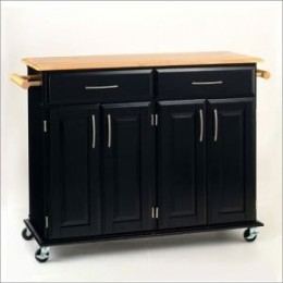 Dolly Madison Kitchen Island Cart - Black/ Natural
