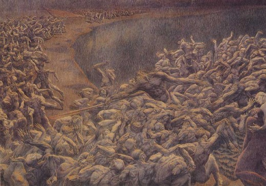 Desperate souls, ready to cross the Acherontes' river and go to Hell for eternity. An illustration of Dante's Inferno by Gustave Dore'.